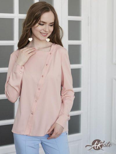 Блузка с косой застежкой розовая - akaterina.ru